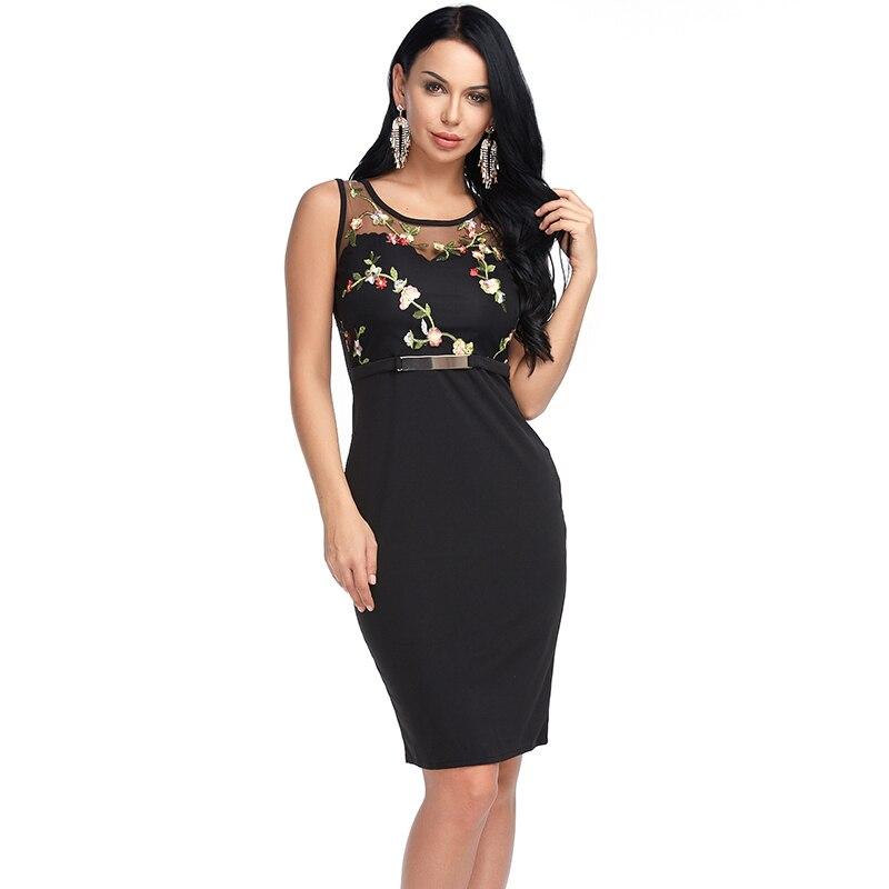 Для женщин пикантные облегающее платье летней вечеринки с цветочной вышивкой без рукавов с открытыми плечами Винтаж Vestidos черный, белый, кра...