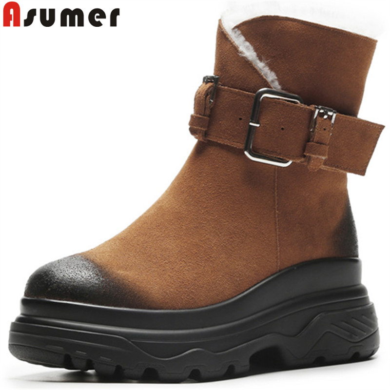 ASUMER black brown ankle boots for women round toe suede leather boots flat platform winter snow boots keep warm ladies shoes стоимость