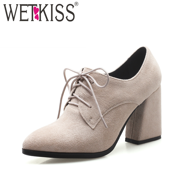 WETKISS New High Heels Women Pumps Pointed Toe Hoof Heels Flock Lace Up Footwear 2018 Brand Fashion Spring Ladies Office Shoes new 2017 spring summer women shoes pointed toe high quality brand fashion womens flats ladies plus size 41 sweet flock t179