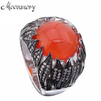 Moonmory Real 925 Sterling Silver Ring With Red Stone Many Clear Zircon Suit For Party Very Cute Rings For Women Jewelry