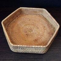 Natural Handmade Rattan Hexagonal Storage Basket Tea Tray Fruit Basket Nut Snacks Hand Woven Basket Desktop Storage Tray