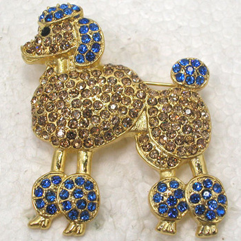 12pcs/lot Wholesale Fashion Brooch Rhinestone Poodle dog Pin brooches C101297