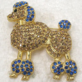 Atacado & Varejo de Moda Broche de Strass cão Poodle Pin broches em 9 cores C101297