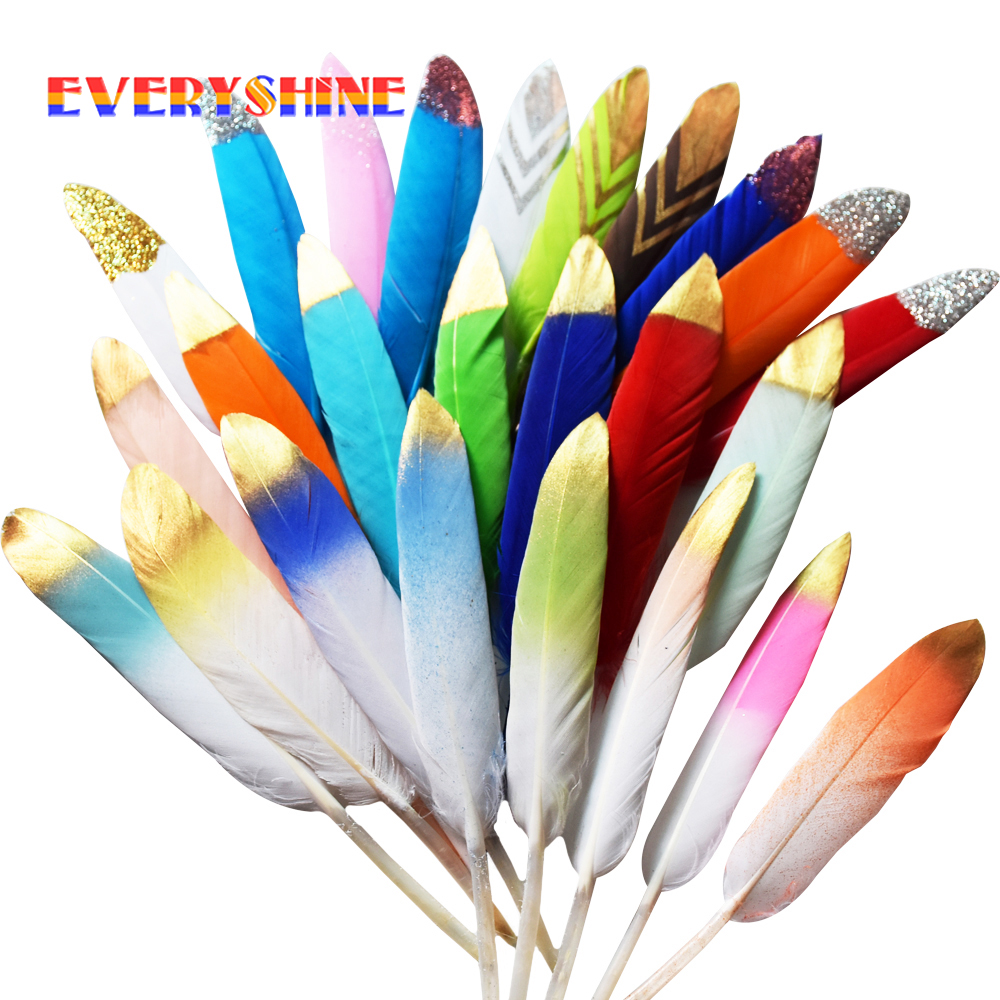 24pcs/lot Colorful Dyeing Goose Feathers with Gold Powder Plumes for DIY Jewelry Brooch Earring Hat Decorations IF24 ...