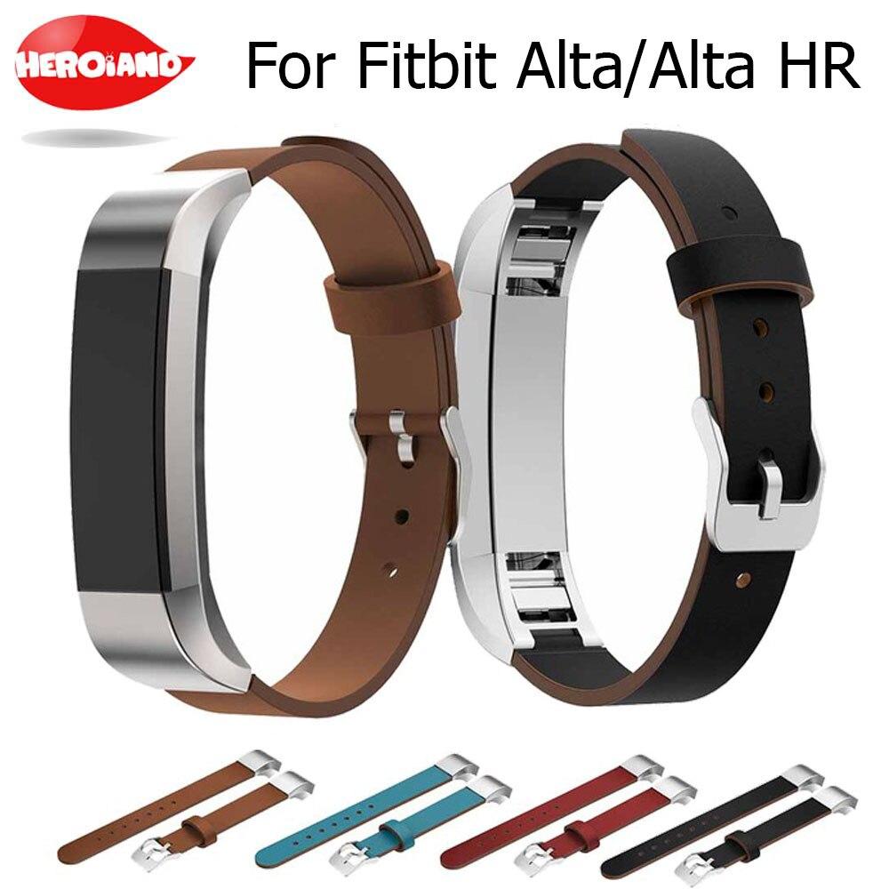 Correa de repuesto de cuero genuino de lujo para Fitbit Alta/Alta HR rastreador pulsera de reloj correa de reloj negra de Alta calidad