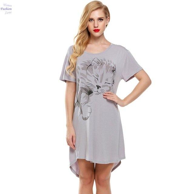 Cat Print Women Sleepwear Short Sleeve Casual Sleeping Dress Nightgown For Ladies Women's Home Clothes Sleepwear 25A