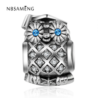 Authentic 925 Sterling Sliver Bead Charm Antique Cute Owl With Crystal Beads Fit Pandora DIY Bracelets