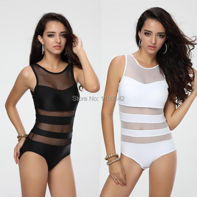 57ce397439a6 Sexy White   Black Lace One Piece Swimsuit Bandage Swimwear Women Cheap Mesh  High Waisted Bathing Suits Beach Wear Monokinis
