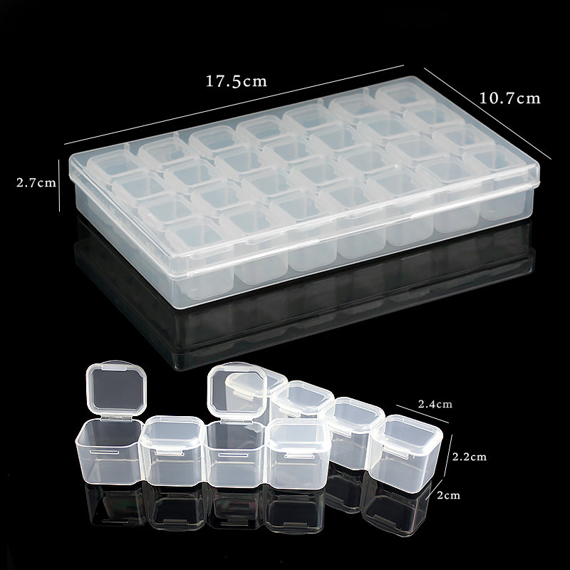 17.5x10.7x2.7CM Rectangle 28 Slots Jewelry Plastic Storage Box  Rhinestone Beads Pill Earrings Storage Box Case Container