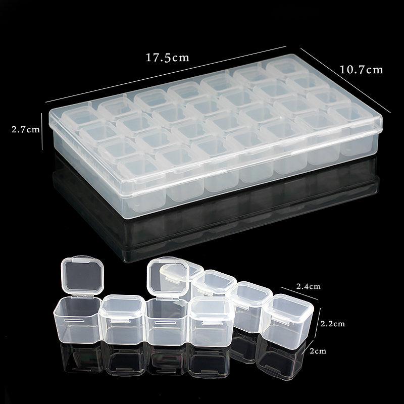 17.5x10.7x2.7CM Rectangle 28 Slots Jewelry Plastic Storage Box  Rhinestone Beads Pill Earrings Storage Box Case Container