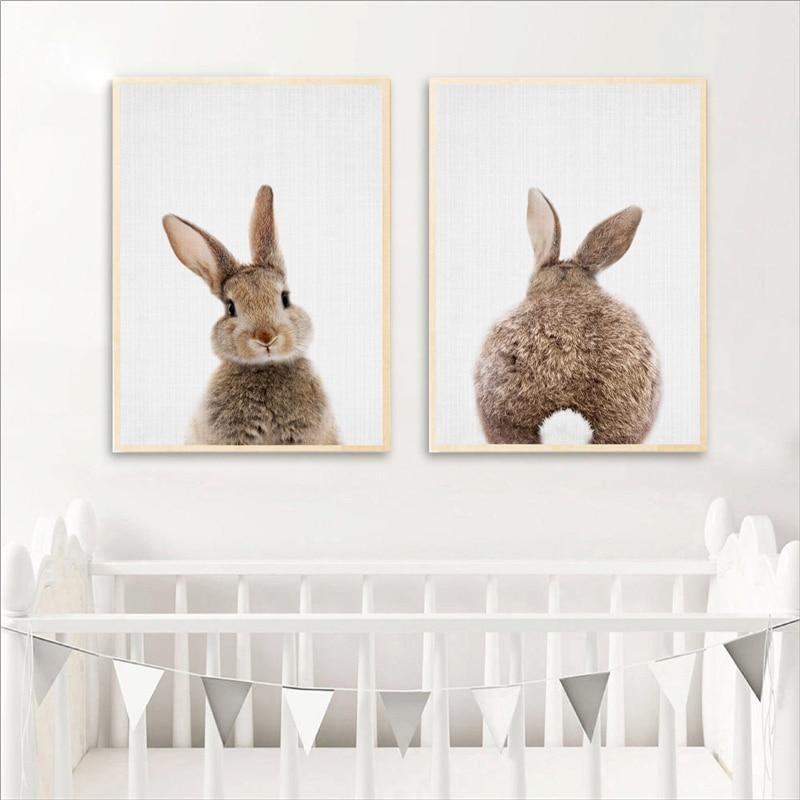Scandi Black Bunny Fun Nordic Nursery Kids Play Room Wall Art Print Sign Decor