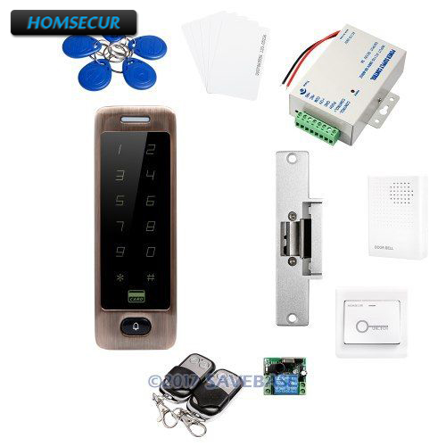 HOMSECUR Waterproof Metal Case Access Control RFID Reader System 5 Ways to Unlock the Door + Electric Strike Lock