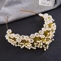 Generoso de Oro Perlas de Plata Corona de La Tiara Accesorios para el Cabello Diadema Hecha A Mano Nupcial Tiaras Pelo Joyería de La Boda