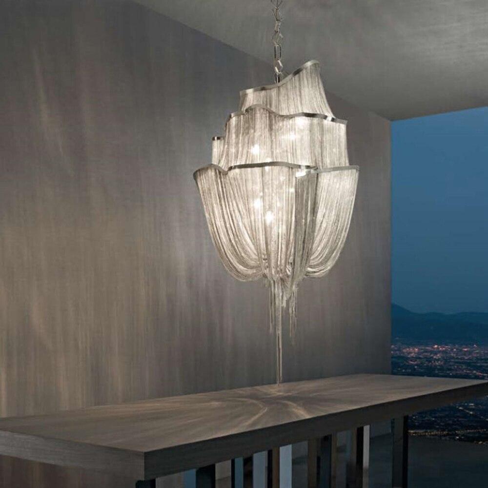 Levou e14 Ferro Retro Cadeia do Alumínio CONDUZIU a Lâmpada de Luz LED. Luzes Pingente. Pingente Lâmpada. luz Pingente Para Hotel Foyer Salão Escadaria