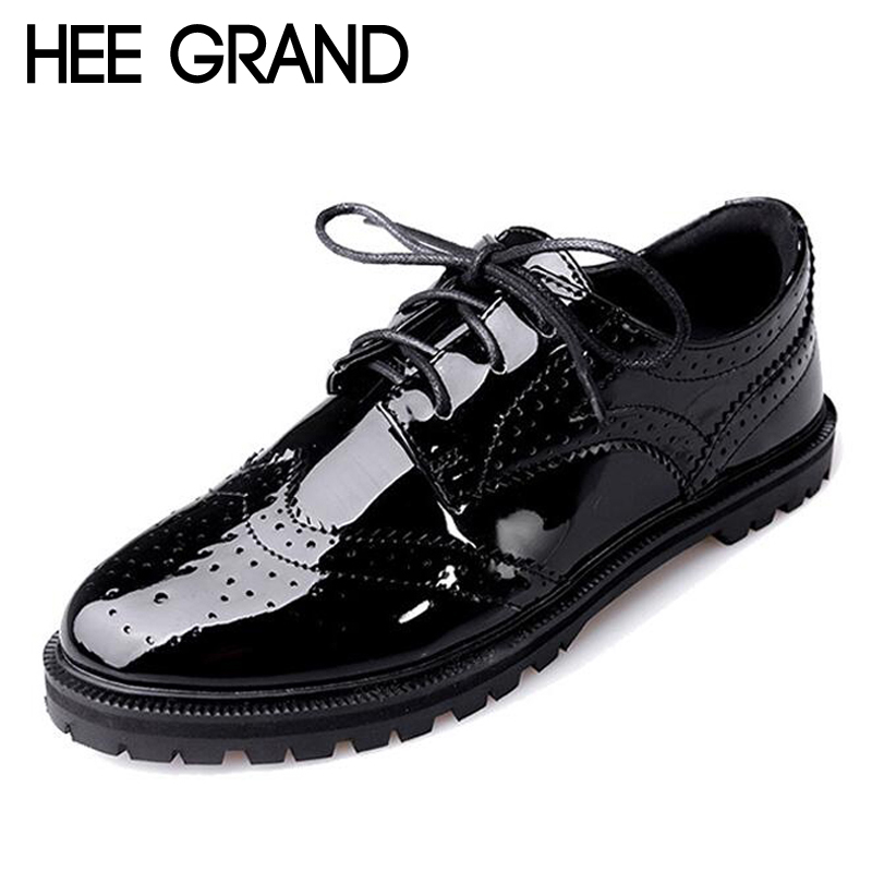 HEE GRAND Patent leather Retro Oxford Shoes Women British Style Bullock Lace-up carved Flats  XWD6018 2016 summer new retro british style men s business suits round leather shoes shoes oxford shoes bullock carved free shipping