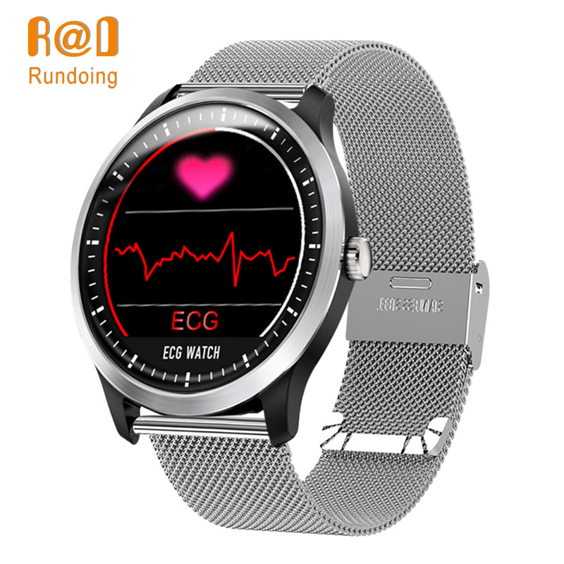 Rundoing N58 ECG PPG smart watch with electrocardiograph ecg display,holter ecg heart rate monitor blood pressure smartwatch abpm50 ce fda approved 24 hours patient monitor ambulatory automatic blood pressure nibp holter with usb cable