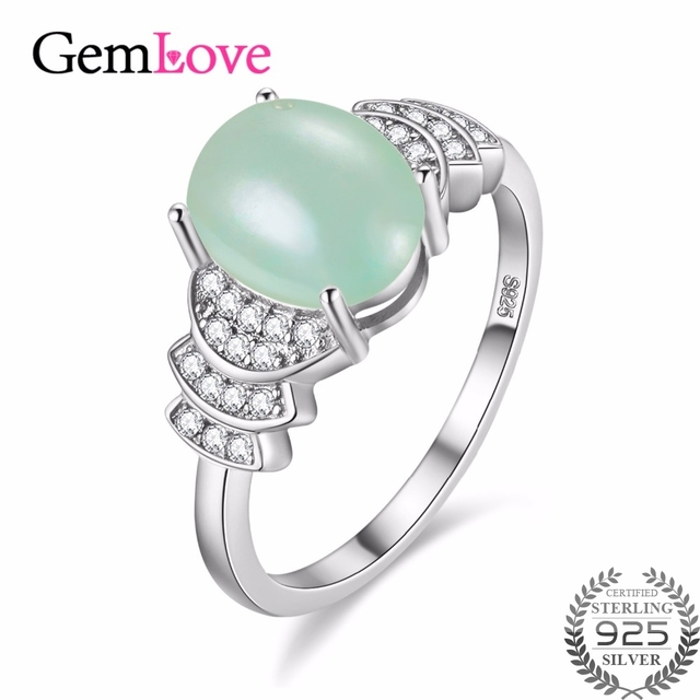 gemlove jade natural green zircon 925 sterling silver large rings jewelry gemstone wedding ring gift girl - Jade Wedding Ring