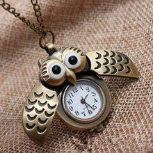 Бронзовые карманные часы с совой складкой креативные карманные часы кварцевые часы Креативные Часы на цепочке креативное украшение