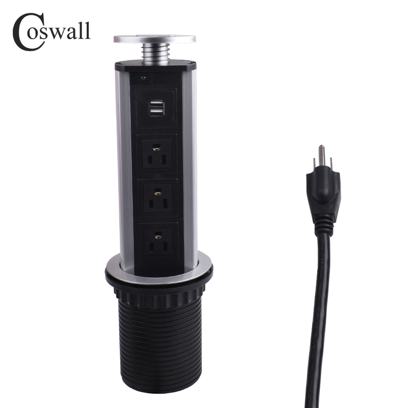 COSWALL 15A PULL POP UP 3 Power US Socket 2 USB Charging Port Kitchen Table Desktop Sockets Retractable Countertops Worktop bcsongben pull table socket pop up 3 power socket 2 usb charging port desktop 16a sockets retractable countertop worktop eu plug