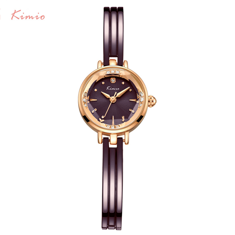Kimio Women's Hollow Bracelet Watches Luxury Ladies Multi-faceted Dial Babysbreath Dress Watch For Women Female Clock With Box chic xinhua 701 round pink dial star shaped case bracelet watch with dots hour marks for women white