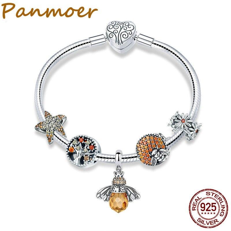 925 Sterling Silver Trendy Insect Bee Pingente De Estrela Do Mar Charme Pulseiras Bangles para Mulheres SCB805 toros roquetas de mar