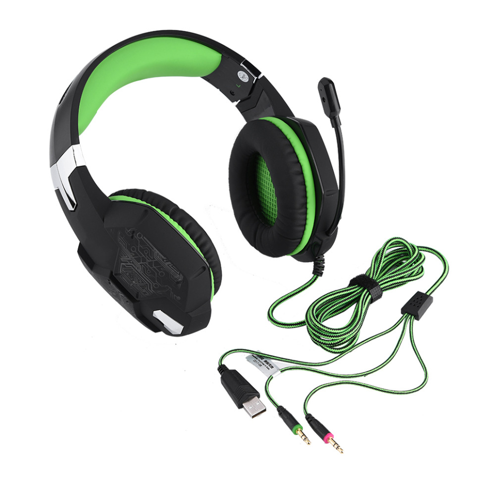 Stereo Gaming Headset LED Light Over Ear Headphones Noise Cancelling Headphones with Mic
