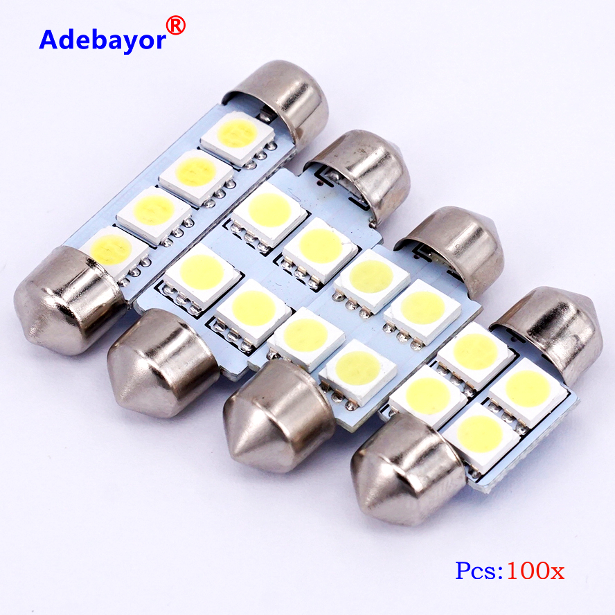 41mm Red Auto Interior Dome 12v Light Bulb Bulbs Lamp W 6 X 5mm Super - 100 x 5050 4 smd 31 36 39 41mm c5w led micro general