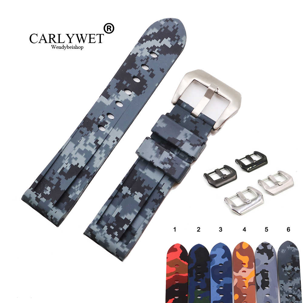 Carlywet 22 24 Mm Grosir Mosaik Tahan Air Karet Silikon Penggantian Wrist Watch Band Loop Tali untuk Panerai Luminor