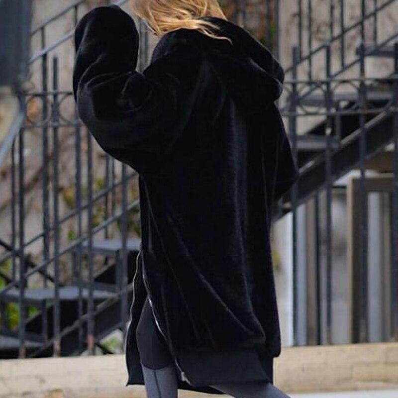 Manteau Manches Fourrure Streetwear Noir Vison Capuchon Chaud Occasionnel Lapin De Long Femmes À Épais D'hiver 2018 Survêtement Longues En Fausse ngqIyRWUCq