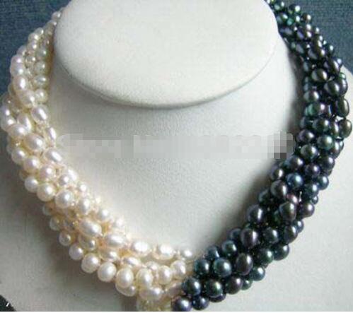 Nouveauté 5 rangées 7-8mm blanc et noir perle collier chaîne 18 pouces femmes fille bijoux Design de mode faire prix de gros