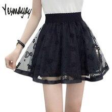 Tulle Falda Mujer verano negro Faldas del tutú del acoplamiento del cordón  falda elástica de alta cintura Mini una línea plisada. faebd179960d