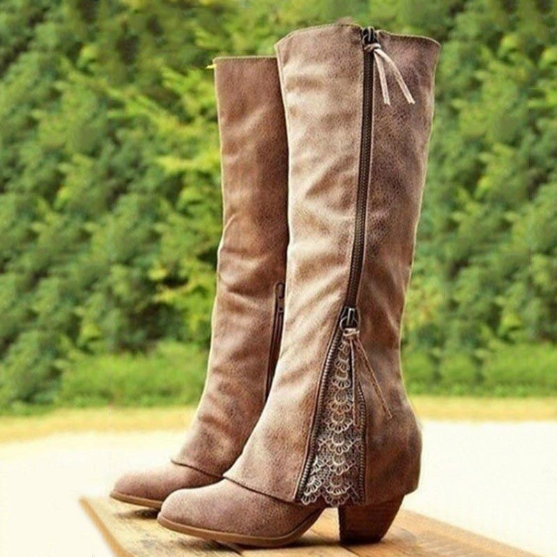 Boots Women Shoes Winter Knee High Boots Fold Over Design Lace Botas Mujer Ladies Shoes Botas Mujer Invierno 2019-in Knee-High Boots from Shoes