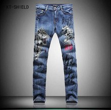 New Style Men Fashion Jean Tigers Girls 3D Printing Designer biker Jeans Straight Slim Trousers Night Club joggers cargo pants