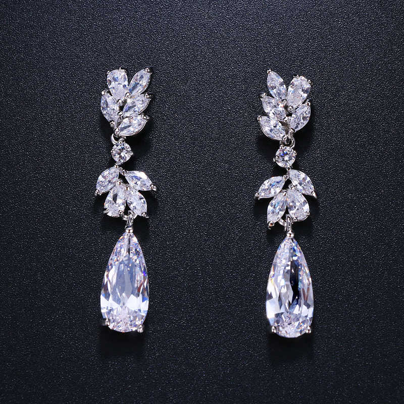 Emmaya Trendy 3 Colors Leaf Earrings High Quality Cubic Zircon Earrings Women Wedding Jewelry Gift