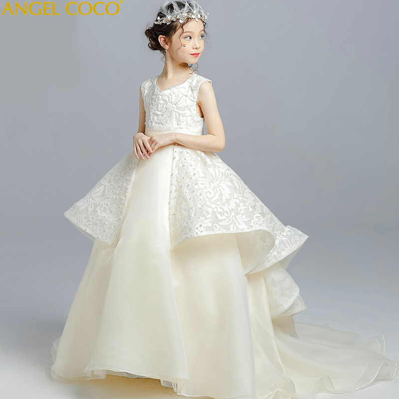 Luxury Flower Girl Dresses For Weddings First Communion Dress For Girls Ivory White A-Line Pageant Children Princess Dresses Cut