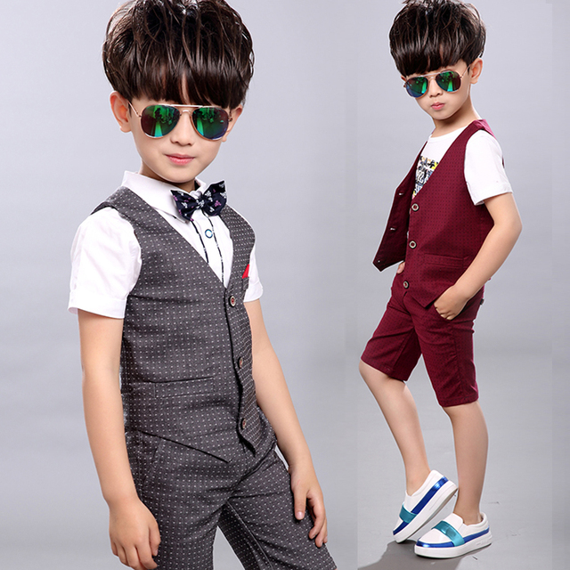 2 pieces Set 2016 Summer Children Set Children's Leisure Clothing Boy Suit Vest Kids Boys Shirt Cloth Wedding Formal Clothing