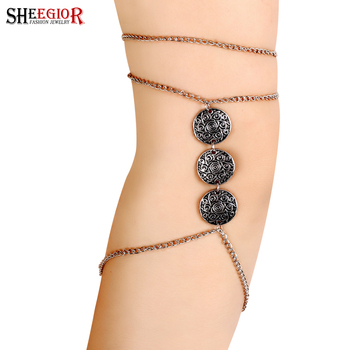 Bohemian Vintage Silver Plated Coin Chain Armlet Upper Arm Cuff Fine Jewelry Armband Bracelets Bangles For
