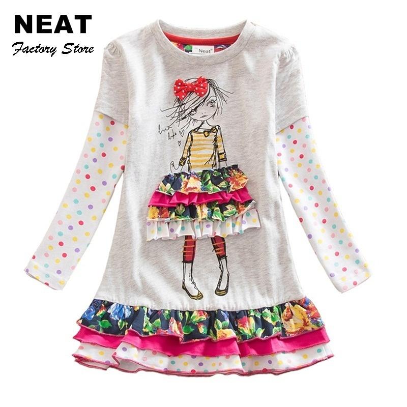 4-8Y Retail Dresses for Girls Cotton Child Kids Dress Baby Children Dresses Neat Long Sleeve O-neck Girls Dresses LH3660 Mix