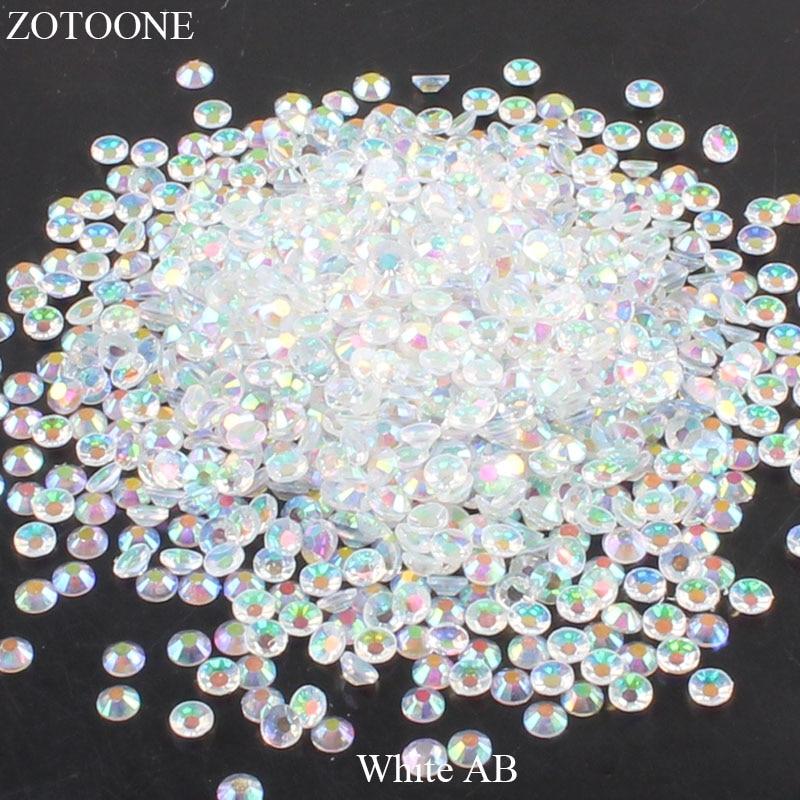 ZOTOONE 2-6 мм 1000 шт прозрачные Стразы AB без горячей фиксации плоские с оборота Стразы для ногтей для одежды ногти 3D дизайн ногтей украшения - Цвет: White abAB