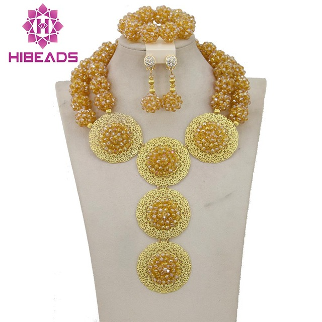 2017 Classic Design Nigerian Gold Costume African Jewelry Sets Wedding/Party Balls Necklace Jewelry Set Free Shipping BN044