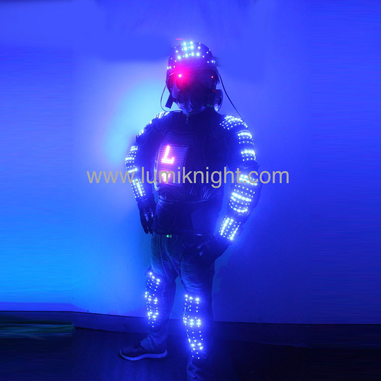 Hi Tech Digital LED policeman Robot font b Suit b font LED clothing LED costume