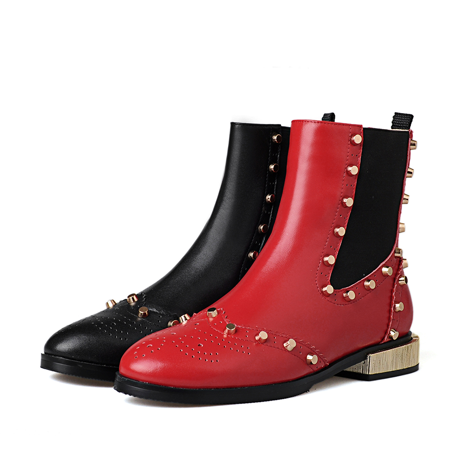 40bc268add8 US $114.93 |ENMAYER New Fashion Rivets Ankle Boots Women Heavy Metal Autumn  Spring Girl Shoes Woman Comfortable Low Heels Motorcycle Boots-in Ankle ...