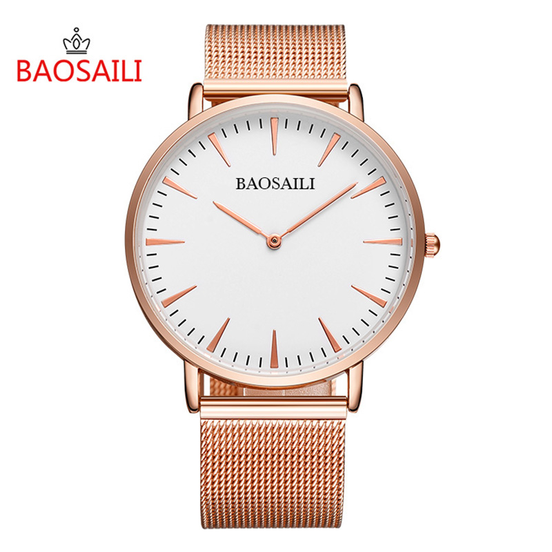 цена на Baosaili New relogio feminino Luxury Top Brand Watches Women Laides Gold Plated Stainless Steel Band Quartz Wrist Watches colck