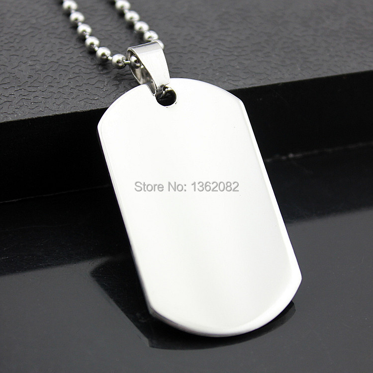 Prix pour Gros 12 pcs armée militaire Style Cool en acier inoxydable poli chien Tag charme pendentif perles chaîne collier cadeau MN271