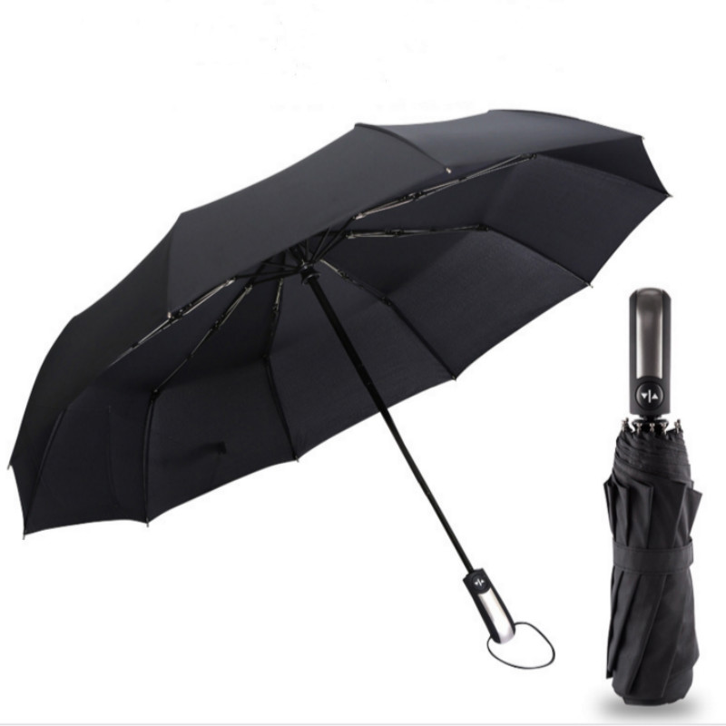 2018 New Fully-automatic Three Folding Male Commercial Compact Large Strong Frame Windproof 10Ribs Gentle Black Umbrellas U0808