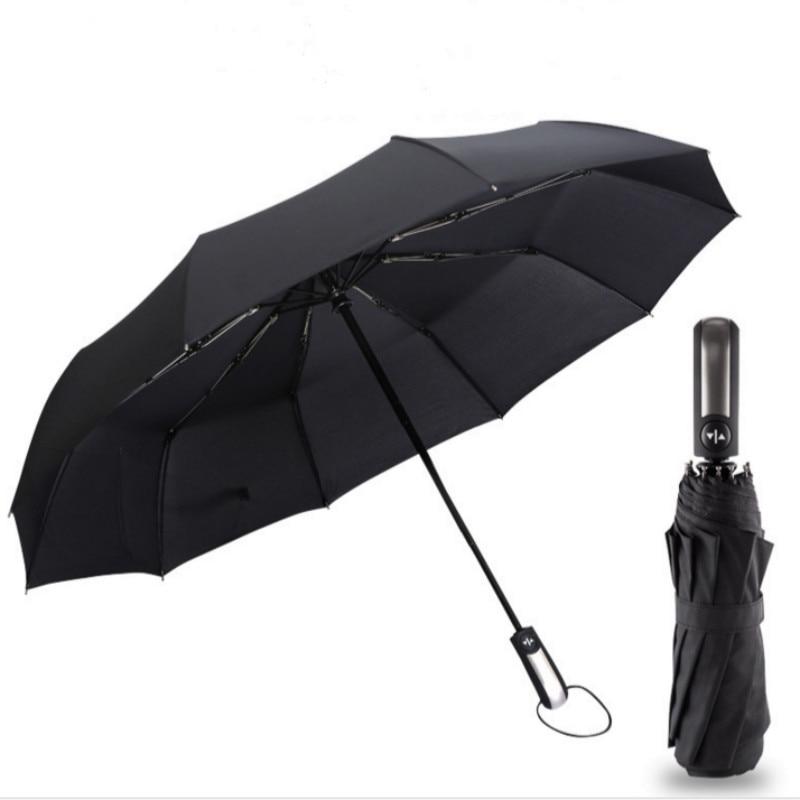 2018 neue vollautomatische Drei Klapp Männlichen Kommerziellen Compact Große Starken Rahmen Winddicht 10 Rippen Sanfte Schwarz Regenschirme U0808