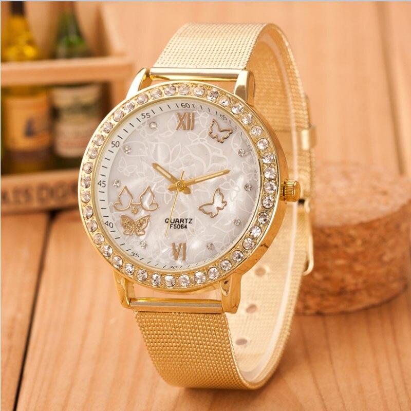 Women Watches Crystal Butterfly Gold Stainless Steel Mesh Wrist Ladies Watch Brand Diamond Wristwatch Clock Relogio Feminino F#