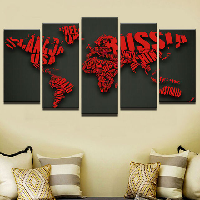 5 Pieces Creative Letter Red World Maps Wall Art Canvas Pictures For