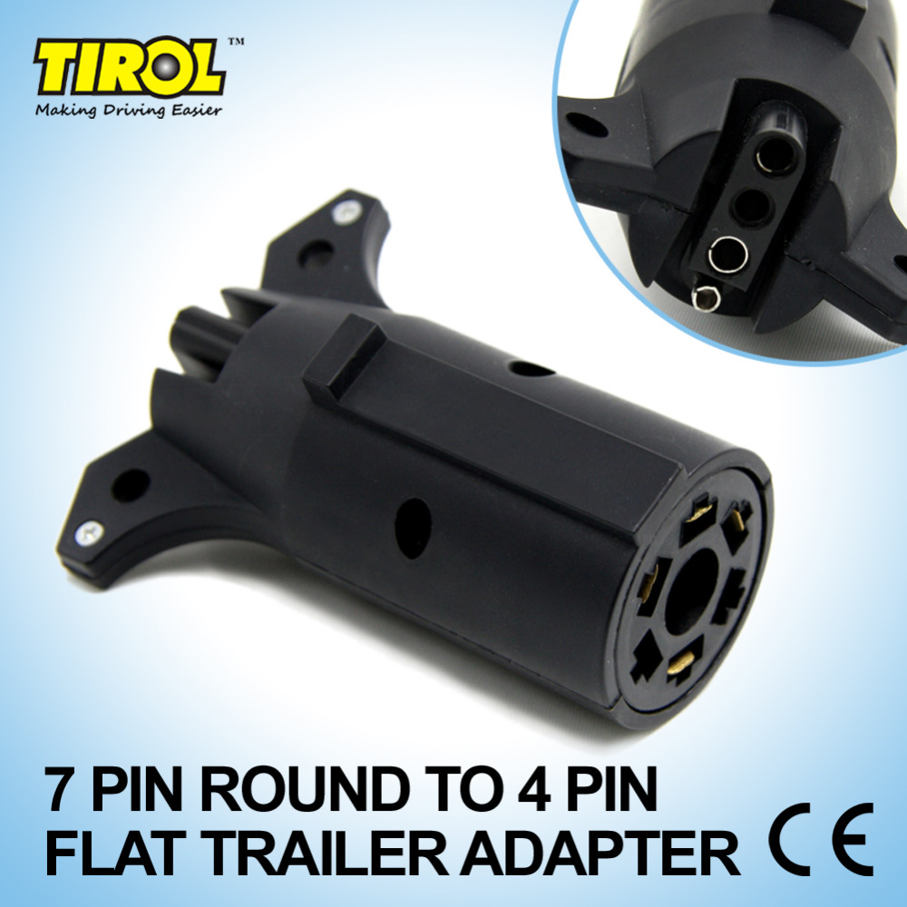 Tirol 7 Pin Round TO 4 Pin Flat Trailer Adapter Trailer Light Plug ...