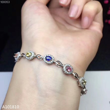 KJJEAXCMY fine jewelry 925 pure silver inlaid natural color Sapphire Gemstone Bracelet support detection luxurious natural sri lanka sapphire bracelet 2 ct natural blue sapphire gemstone bracelet solid 925 sterling silver bracelet